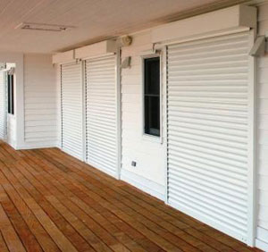 Automatic Hurricane Shutters Closed